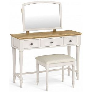 Annecy Dressing Table & Mirror Set Oak Top