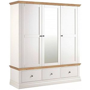 Annecy Triple Wardrobe with 3 Drawers - Oak Top