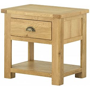 Portland Oak Lamp Table with Drawers