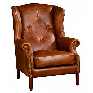 Wing Chair Brown Cerato Leather
