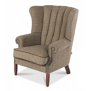 Fluted Wing Back Chair Harris Tweed Gamekeeper Thorn