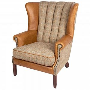 Fluted Wing Back Chair Harris Tweed Gamekeeper Thorn - Cerato