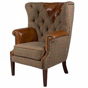 Kensington Chair Brown Cerato/Harris Tweed