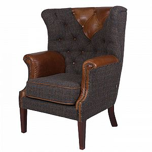 Kensington Chair Brown Cerato/Harris Tweed Uist