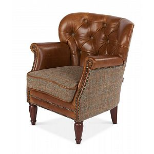 Marlon Chair Brown Cerato/Harris Tweed