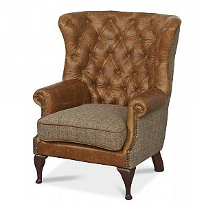 Wing Wrap Chair Brown Cerato/Harris Tweed