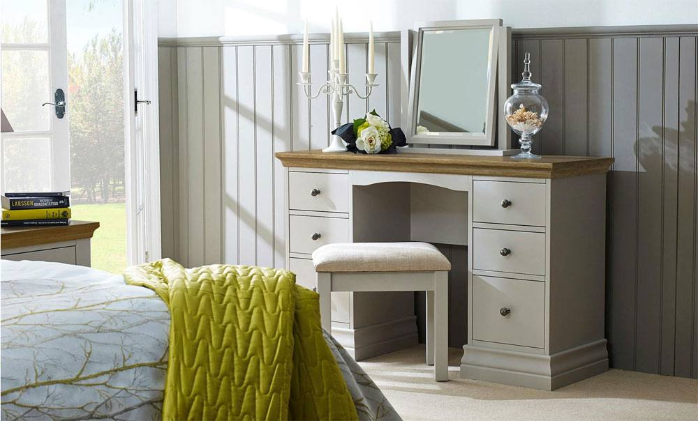 Annecy 2 Drawer Bedside Chest Oak Top